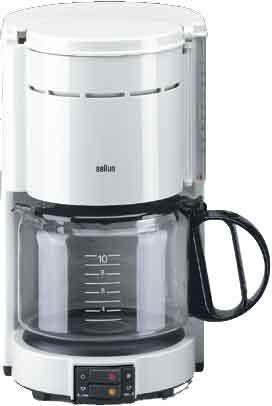 BRAUN Kaffeeautomat,10T.,1000W,Glaskanne,weiss