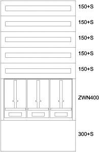 EATON BP-U-3S-NN-800/15-3Z Zählerverteiler UP,3ZP,5NR,EVN,B810xH1535xT240mm